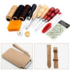 13pcs set leather craft handmade hand stitching diy sewing leather art tools thread awl waxed