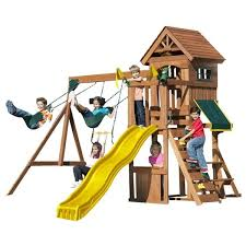 a small wooden swing set with a lot of activities for kids 3 10 years