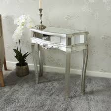 half moon mirrored console table