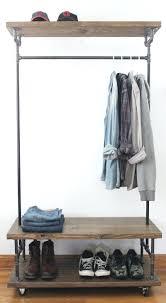 rolling coat rack with shelf wardrobe racks amusing closet clothing garment  wood and metal