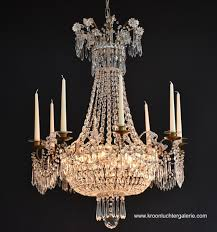 crystal basket chandelier with light fittings and candles 0