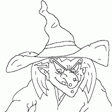Small Picture Coloring of a wicked witch for Halloween Halloween coloring to print