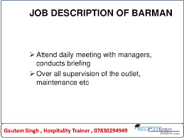 Bar Staff Job Description Bar Staff Job Description Specification