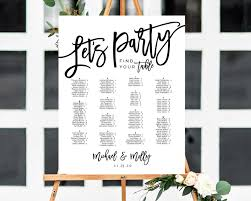 Alphabetical Seating Chart Template Seating Plan Seating Chart Poster Wedding Seating Sign Seating Chart Board Table Plan Lets Party