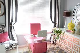 black and white home office. Interesting Black And White Striped Curtains For Home Office With Brown Table Lamp Glass Desk Idea