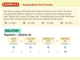 3 example 4 standardized test practice solution equation 1 option a y 1 x 30