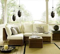 Pottery Barn Style Living Room Patio Furniture Pottery Barn Beach Style With Blue Cushion White