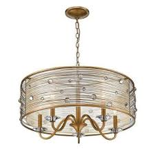 joia 5 light peruvian gold chandelier light with sheer filigree mist shade