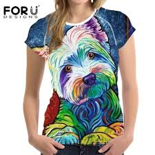 <b>FORUDESIGNS Woman Tops</b> T shirt Bright Yorkshire Bulldog 3D ...