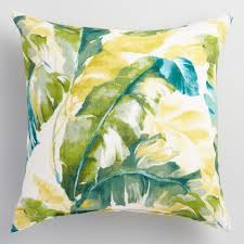 Green Palm Outdoor Throw Pillow