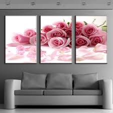 3 pcs set framed flower canvas print rose bouquet pink modern wall pictures for living room canvas wall art picture in painting calligraphy from home  on modern framed wall pictures with 3 pcs set framed flower canvas print rose bouquet pink modern wall