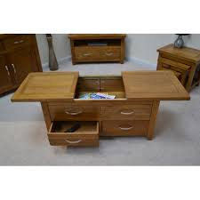 Oak Storage Coffee Table Uk. Rustic Oak Storage Coffee Table With Sliding  Top And Drawers