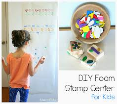make your own stamps using foam stickers fun craft for kids