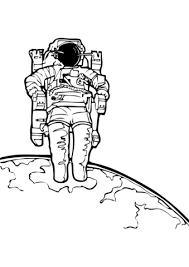 Astronaut In De Ruimte Kleurplaat Gratis Kleurplaten Printen