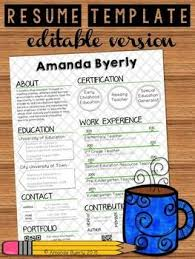 Free Resume Templates For Teachers Custom FREE Editable Resume Template TpT FREE LESSONS Pinterest