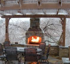 Outdoor Kitchen Fireplace Drawn To This Fireplace In Winter Outdoor Living Pinterest