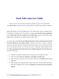bank teller interview guide r eacute sum eacute interview