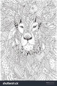 Hand Drawn Lion With Ethnic Floral