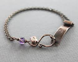 This bracelet made with curve copper <b>bar</b>, stamped with your choice ...