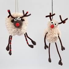 pom pom reindeer with silk clay and pipe cleaners with beads