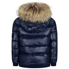 Designer Puffer Coat With Fur Hood Pyrenex Boys Shiny Navy Down Padded Coat With Fur Trim
