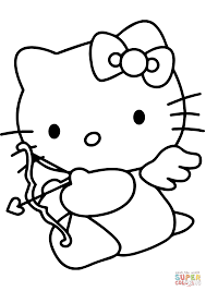 Small Picture Hello Kitty Valentines Day Cupid coloring page Free Printable