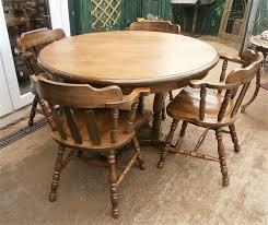 vintage oak round table 4 captains chairs