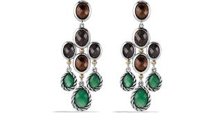 lyst david yurman viridian chandelier earrings with green onyx smoky quartz and gold in green