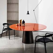 Round glass dining table Expandable Round Glass Dining Table Totem Visual Hunt Totem Round Glass Dining Table Klarity Glass Furniture