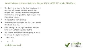 word problem integers digits and algebra igcse gcse 10th grade and ged math you