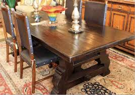 mediterranean dining room furniture. Reclaimed Wood Spanish Trestle Dining Table In A Distressed Dark Stain Finish Mediterranean-dining- Mediterranean Room Furniture E