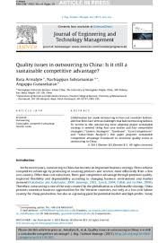 Quality issues in outsourcing to China: Is it still a sustainable com\u2026