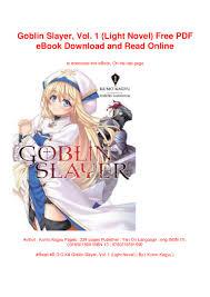 Goblin Slayer Light Novel Volume 4 Read Online Goblin Slayer Vol 1 Light Novel Free Pdf Ebook Download