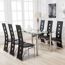 black dining room furniture sets. 7 Piece Dining Table Set And 6 Chairs Black Glass Metal Kitchen Room Breakfast Furniture Sets