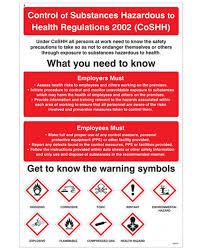 Control Of Substances Hazardous To Health Wall Chart