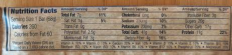 calories from fat 60 sodium 230mg potium 230mg toal carb 41g tary fiber 4g sugars 20g lots but it s energy protein 11g clif bar