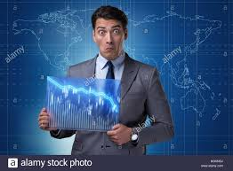 Funny Businessman Surprised At Market Quotes Stock Photo 130741090