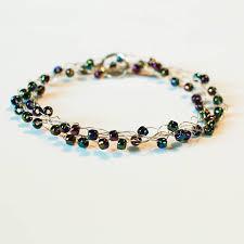 wire wrapped beaded crochet bracelet