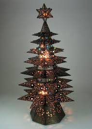 Lighted Punched Tin Star Christmas Tree with Marbles - Aged Tin
