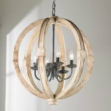 Distressed Wood Sphere Chandelier