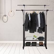 Walmart Utility Shelves Beauteous Mobile Double Rail Clothes Rack With Utility Shelves Walmart
