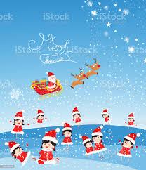 Buon Natale Con Divertenti Bambini E Babbo Natale Vola - Immagini  vettoriali stock e altre immagini di 2015 - iStock