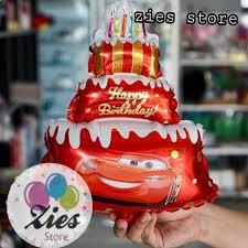 Jual Balon Foil Happy Birthday Cake Cars Kue Ulang Tahun Motif