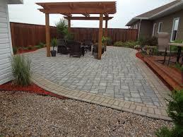 deck with pergola on stone patio