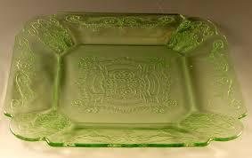 lorain green depression glass lunch plate