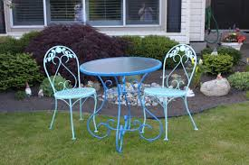 double blue wrought iron bistro sets for minimalist patio decor
