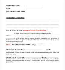 employee warning forms sample written warning template 10 free documents in pdf