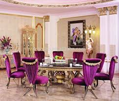 elegant french style dining room decor ideas with classy purple upholetered dining chairs and round black top dining table complete carving gold legs plus