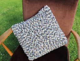 hooky rag rug cushion made using woolen blanket offcuts
