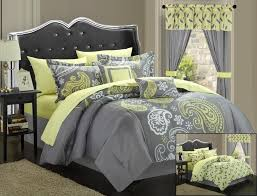 astounding gray bedding sets with yellow accentatching window curtain
